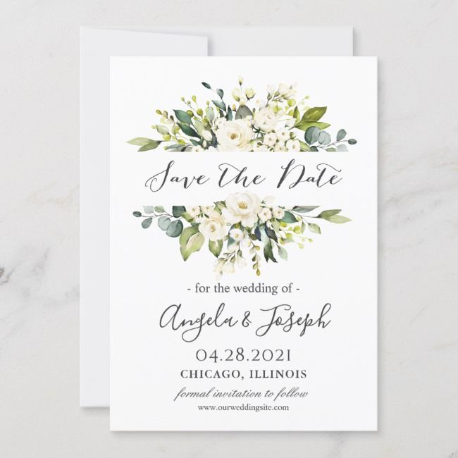 Save The Date Card Personalised Greenery Invitation Greeting