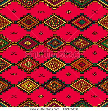 Seamless abstract hand-drawn ethnic pattern, tribal background - ikat muster ethno design