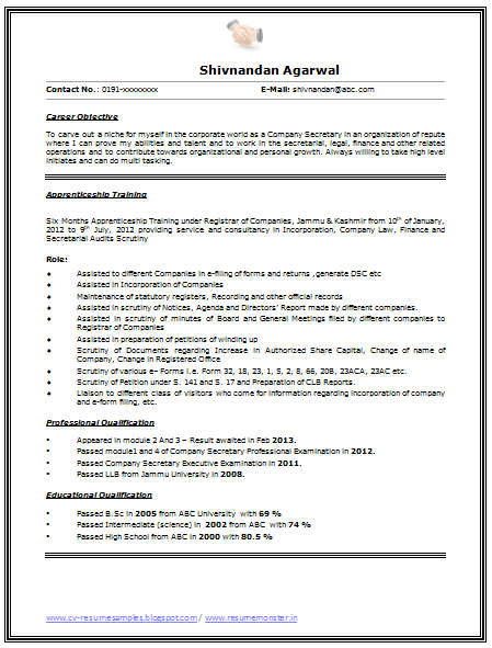 Sample Template Of Fresher S Resume With Job Profile Career Growth Professional Curriculum Vitae With Free Download In Word Doc Resume Career Growth Word Doc