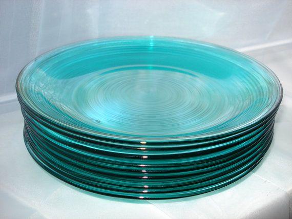 Set Of 9 Vintage Arcoroc France Aqua Turquoise Translucent
