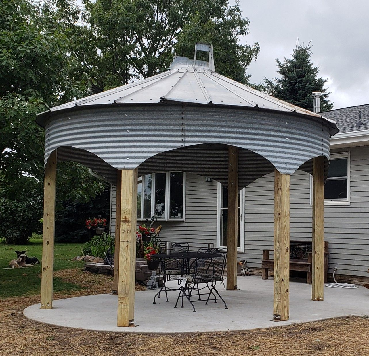 Repurposed 14 Foot Grain Bin Into Patio Gazebo Gazebo Patio