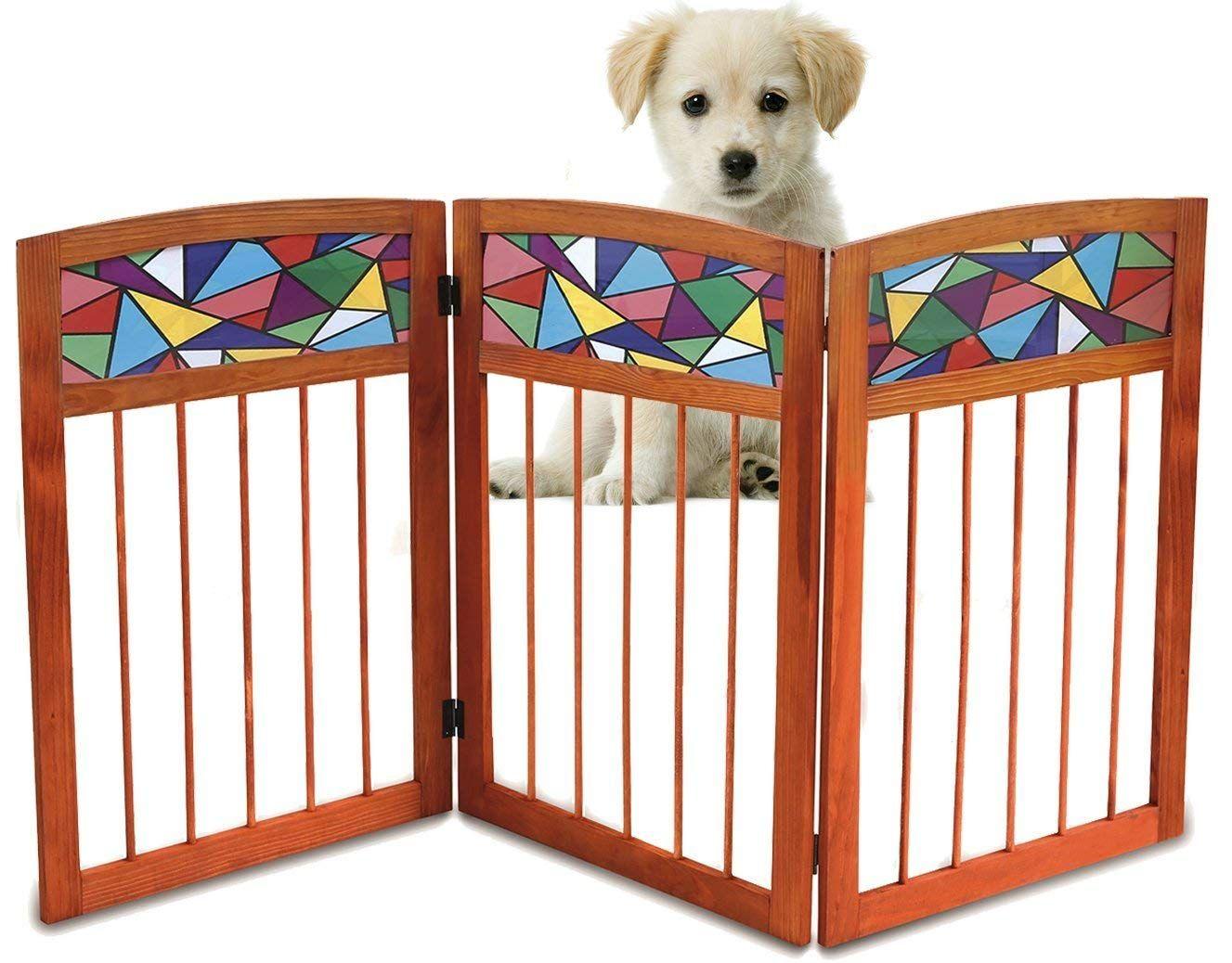 Kleeger Freestanding Wooden Pet Gate Safety Gate For Indoor Home