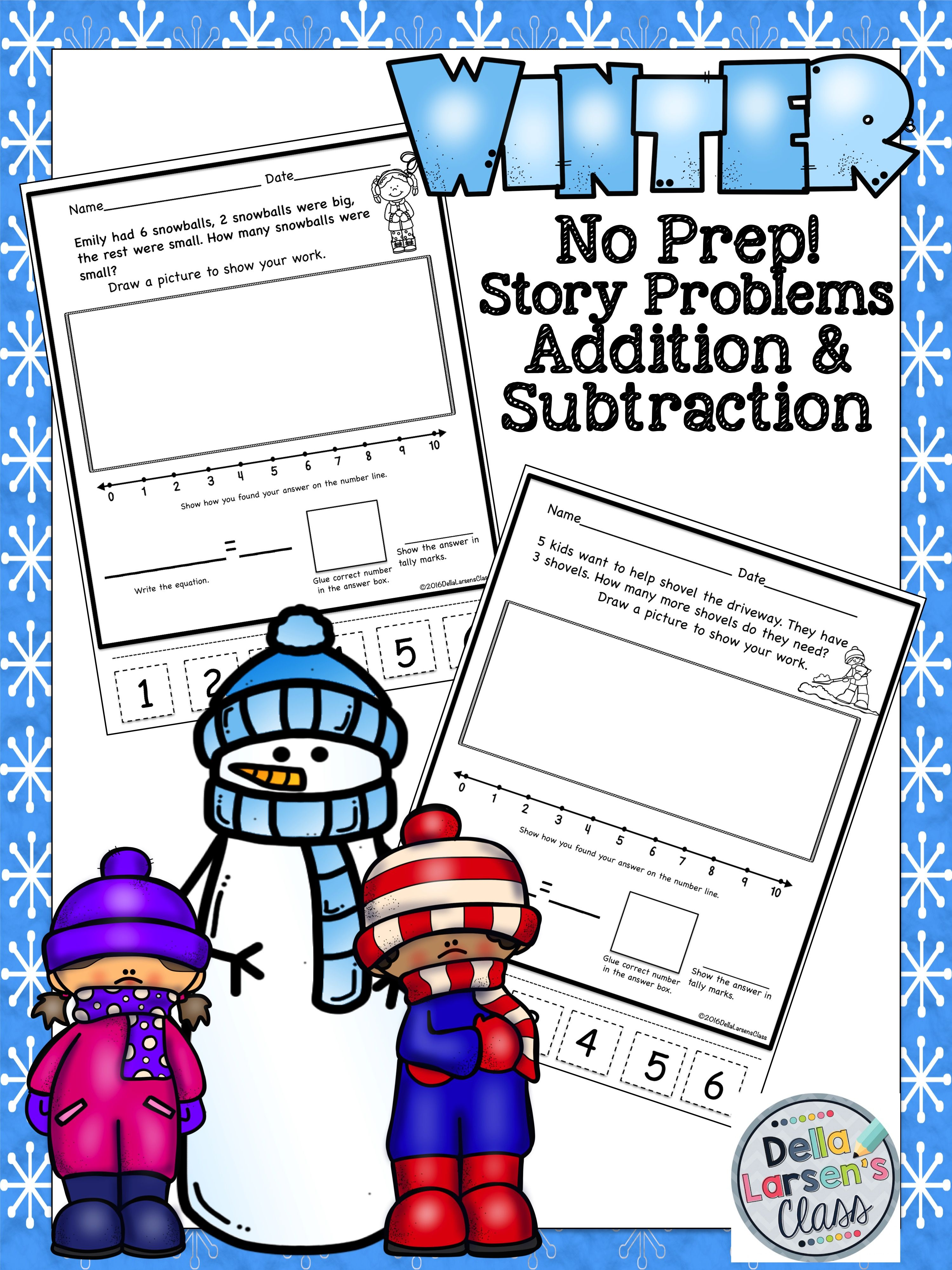 Word Problems Winter No Prep Addition And Subtraction