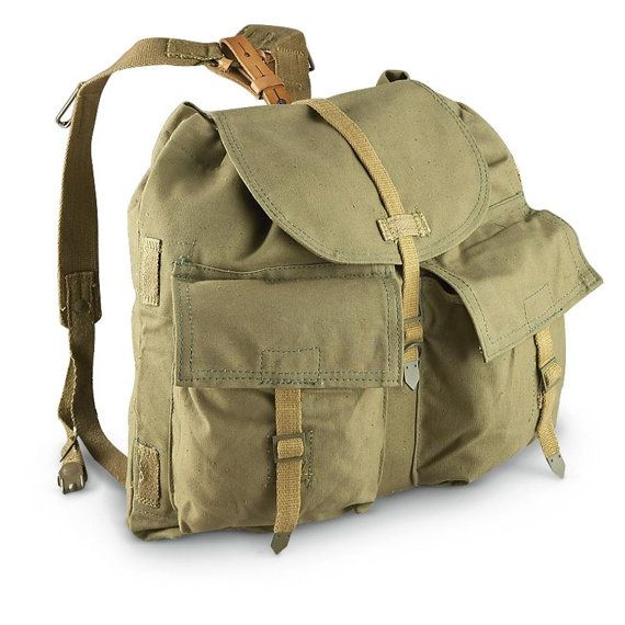 RETRO BACKPACK MILITARY BAG RUCKSACK SATCHEL WEBBING FISHING VINTAGE ARMY STYLE