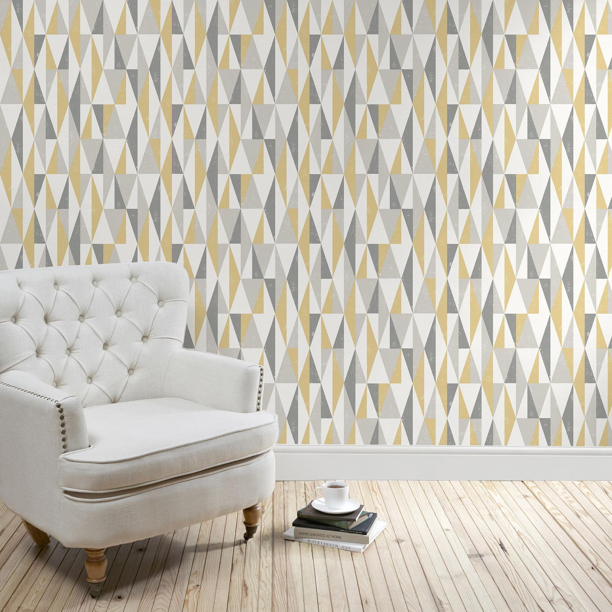 Triangle Ochre Wallpaper Living room grey, Living room