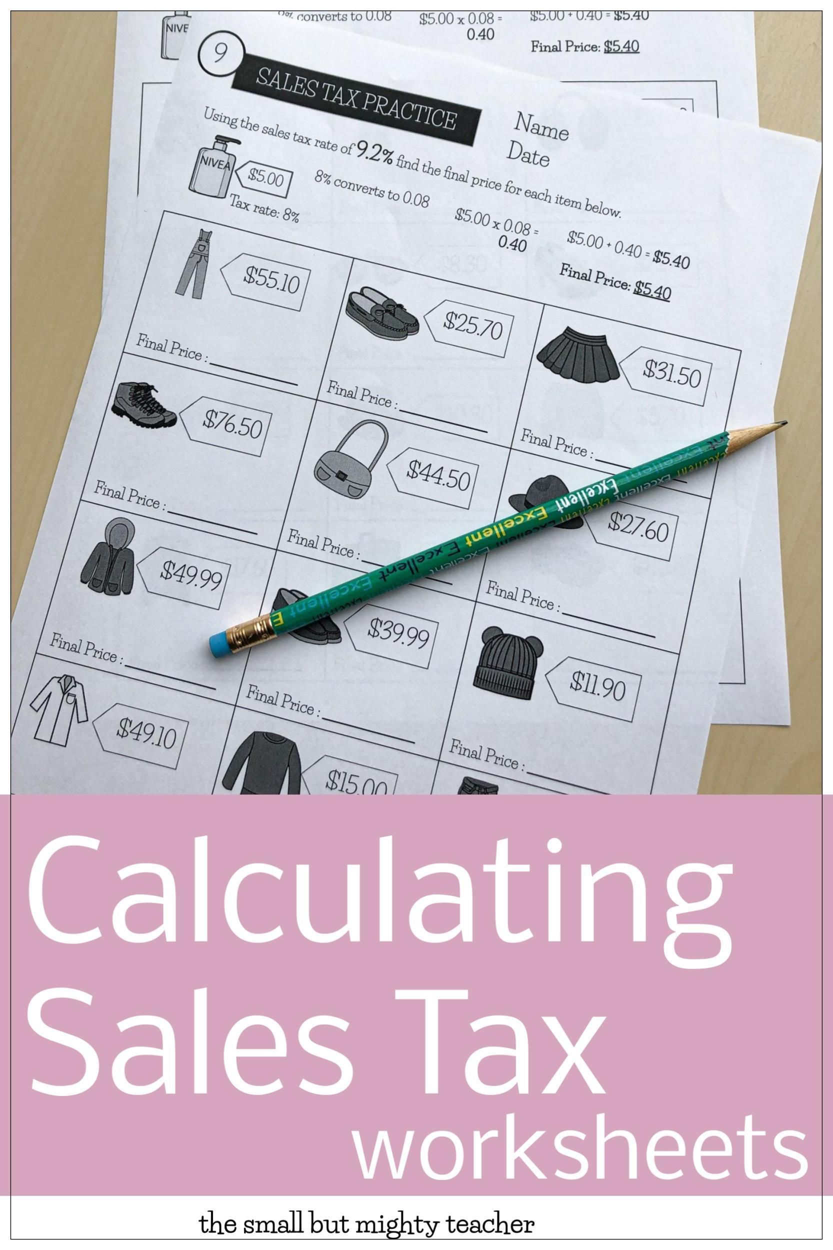 Sales Tax Worksheets Sales Tax Math Skills Worksheets