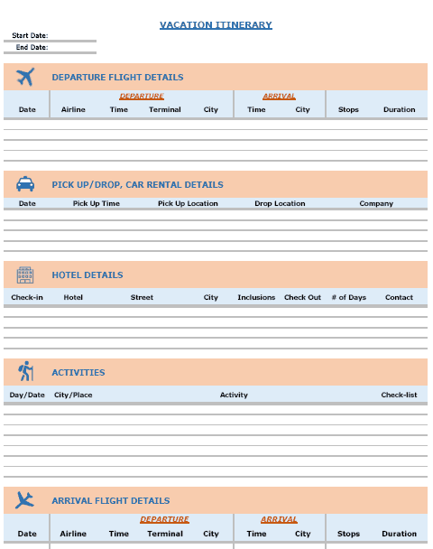 Vacation Itinerary Packing List Template In Excel Vacation