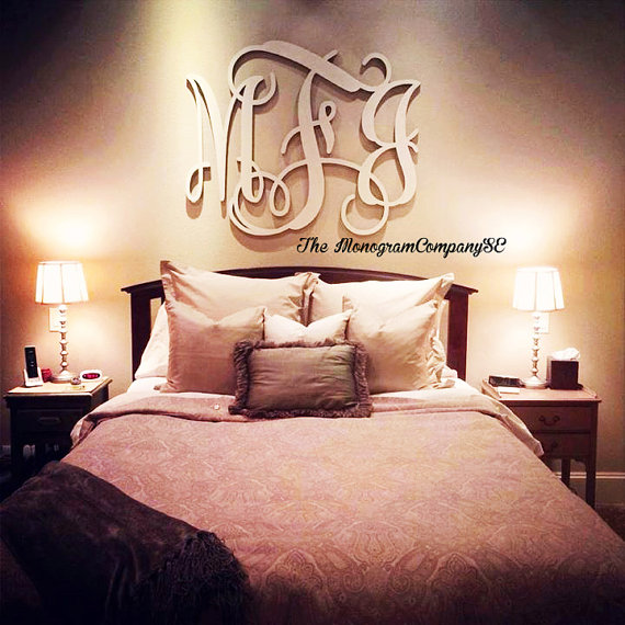 Wooden Monogram Wall Hanging Initials Photo Prop