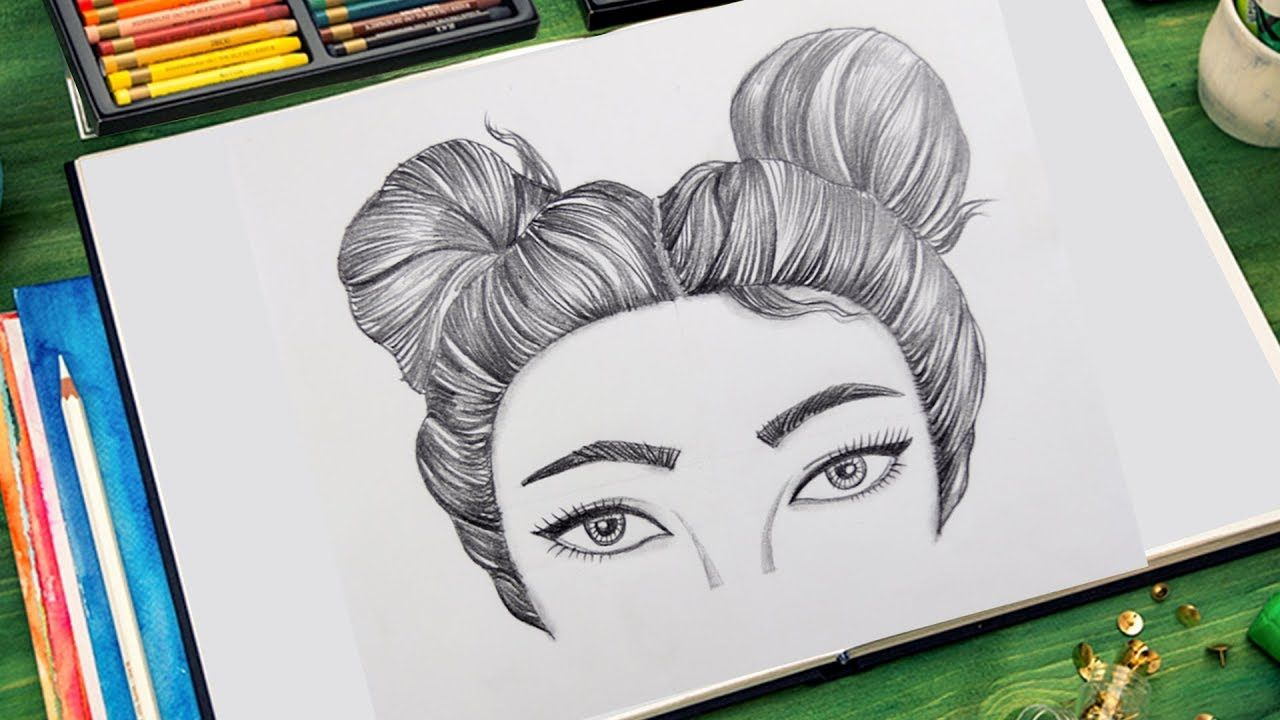 How To Draw A Girl With Double Buns Hair Very Easy Space Drawings Drawings Illustration Sketches