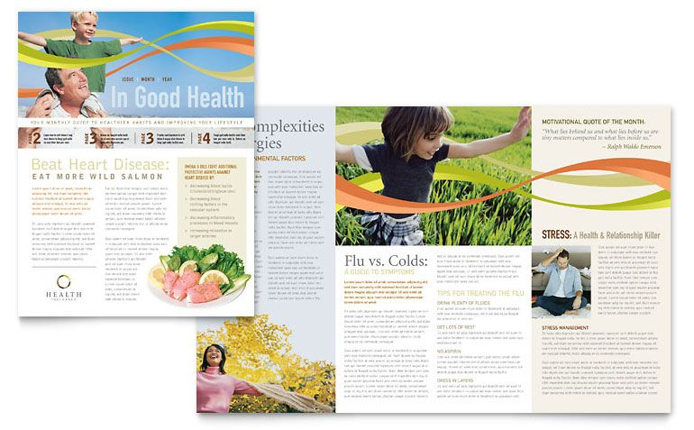 Health Insurance Company Newsletter Template - Word \ Publisher - office newsletter