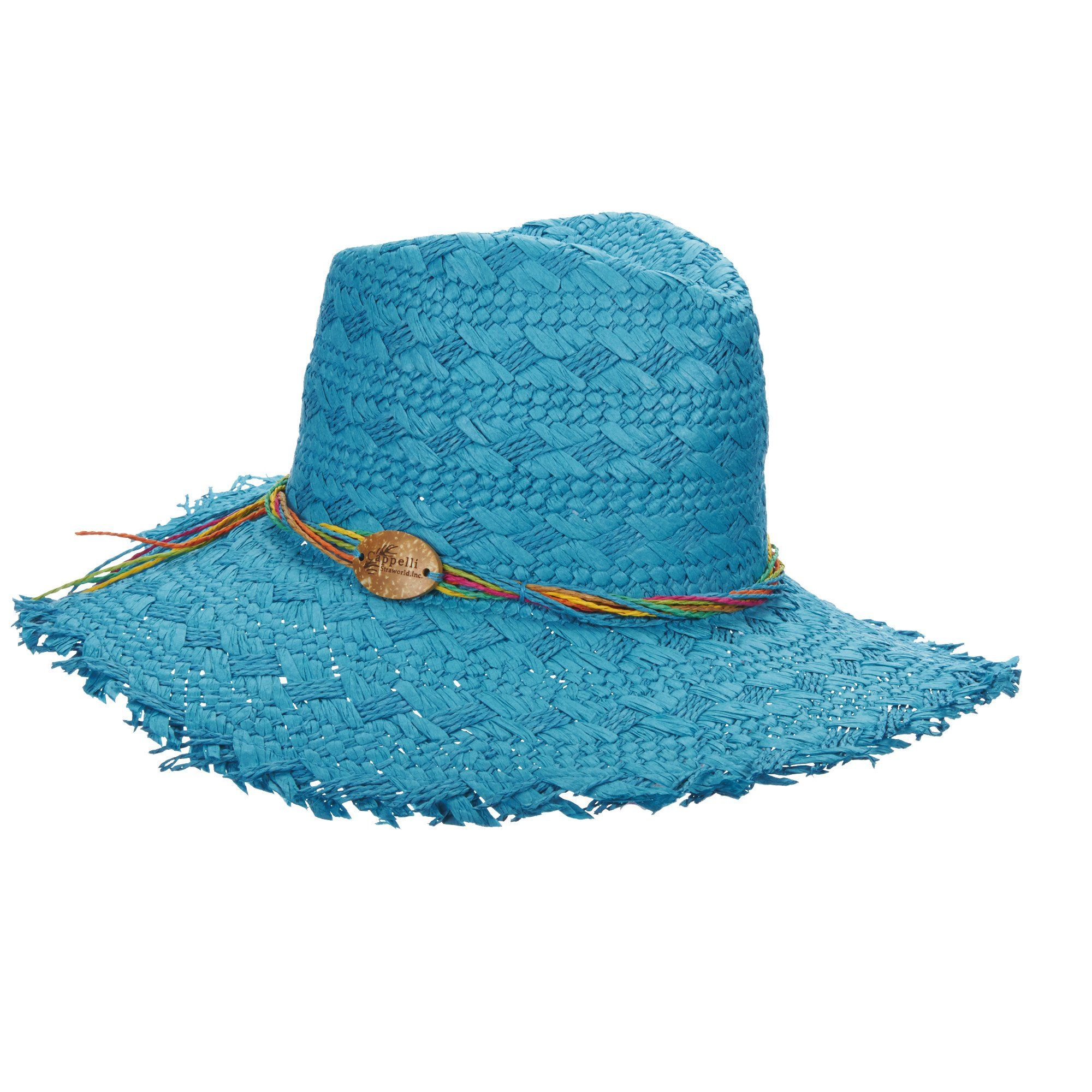 f923e002 Woven toyo safari style hat with floppy brim. Twisted multicolor tie  accent. Coconut CAPPELLI logo detail. Unfinished edge, 4
