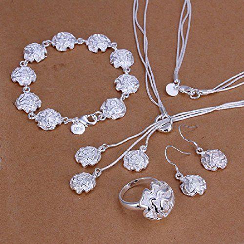 6263b4a21179 nice joyliveCY 2016 la moda mujer elegante 925 bañado en plata joyería Set  Collar Pulsera Anillo Gancho