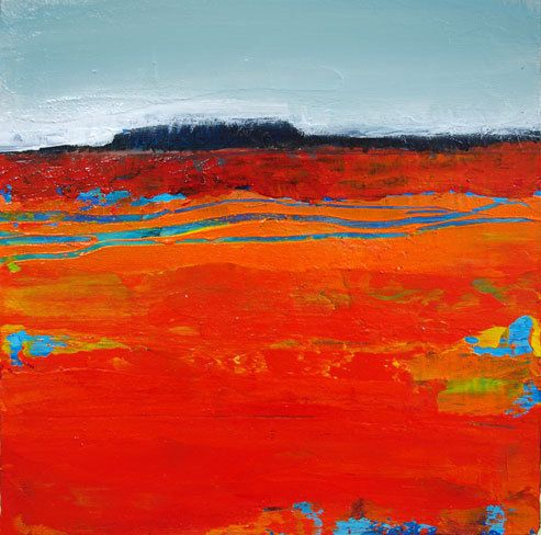 "SEDONA CLIFFS IX- Contemporary Abstract Landscape Painting by Cristina Del Sol Mixed Media ~ 6"" x 6"""