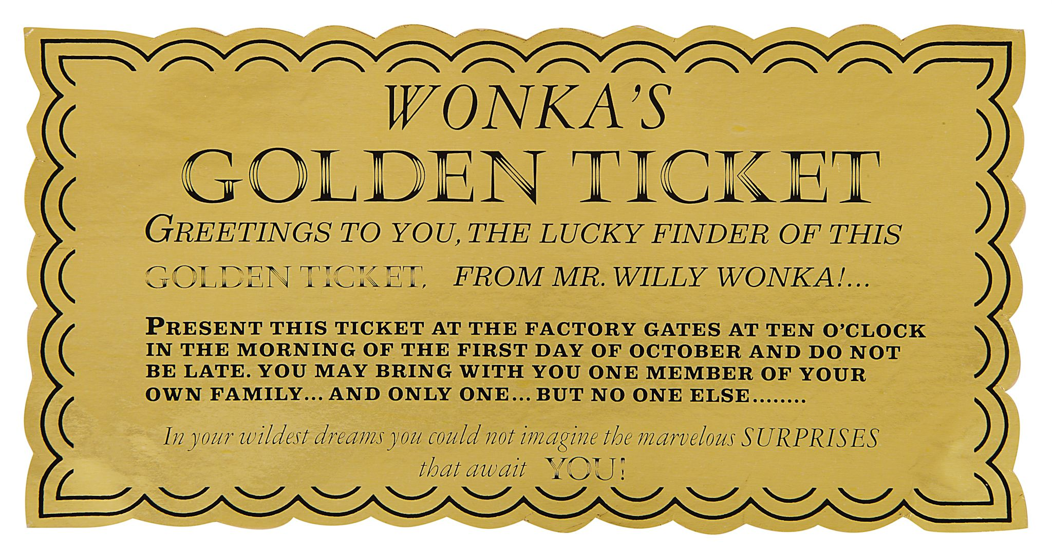 Authentic Golden Ticket From Willy Wonka And The Chocolate Factory