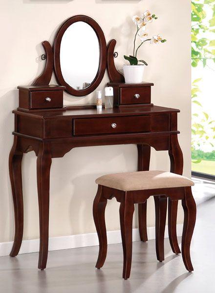 Cherry Wood Vanity Set Muebles Escritorios Hogar