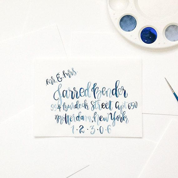 Hand Written Watercolor Envelope Hand Lettered by papercasestudio