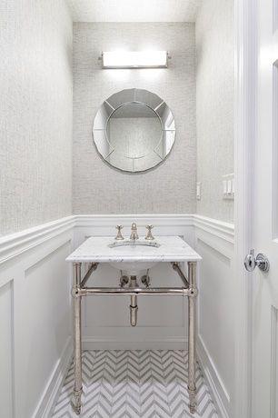 Contemporary Powder Room With Herringbone Tile Floors