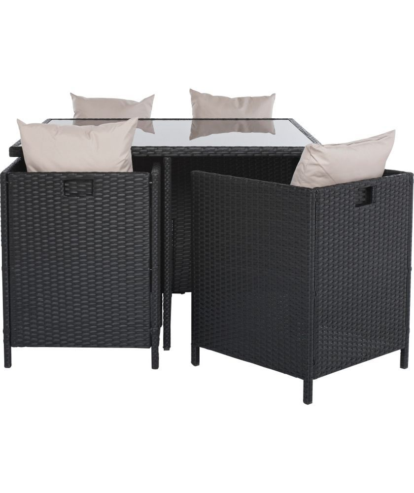 Buy Rattan Effect 4 Seater Cube Patio Set - Black at Argos.co.uk ...