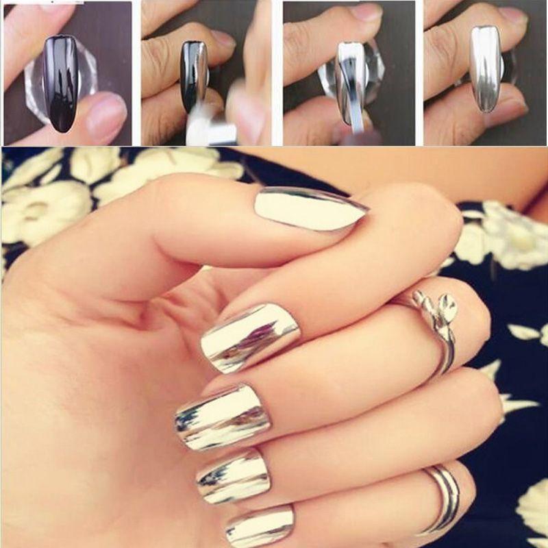 2 Box Silver Gold Nail Mirror Powder Pigment Nail Art Decorations ...