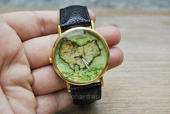 world map watch australia country map women watchunisex by richardwu 650 personalized handmade leather watch