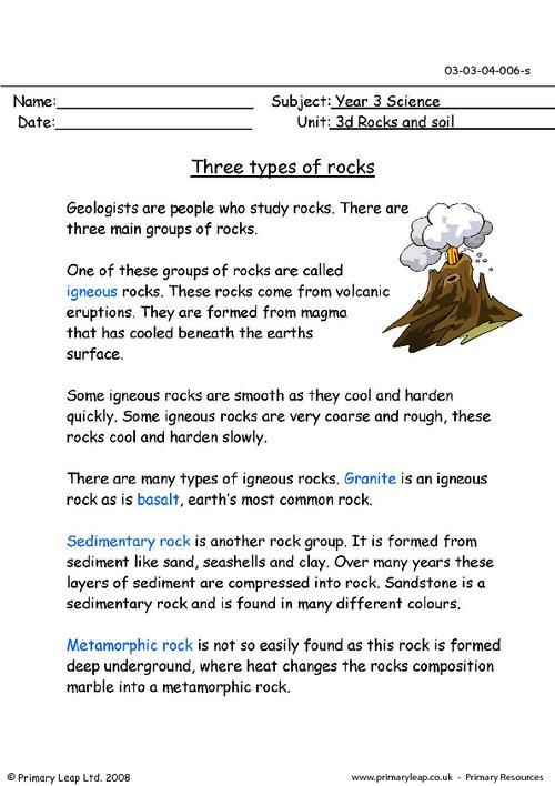 three types of rocks worksheet homeschool science pinterest primary. Black Bedroom Furniture Sets. Home Design Ideas