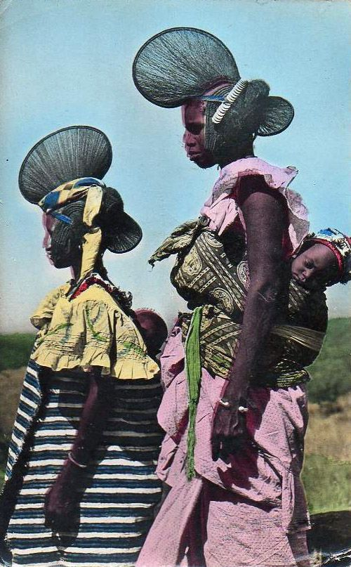 Africa |  Young women from Fouta Djallon.  Central Guinea. ca. 1955 || Scanned old postcard.