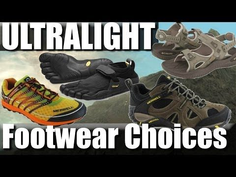 ▶ Ultralight backpacking footwear: trail-runners, sandals, vibram five fingers - YouTube