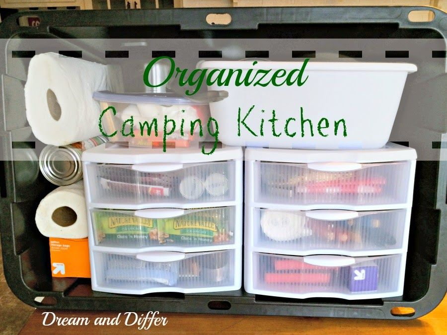 Dream And Differ Organized Camp Kitchen In A Plastic Tote Camping Hacks