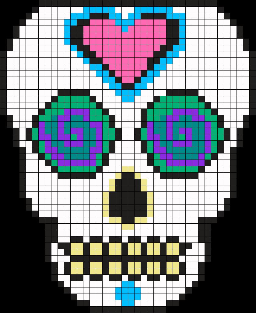Mexican Muerto Skull Perler Bead Pattern Bead Sprite