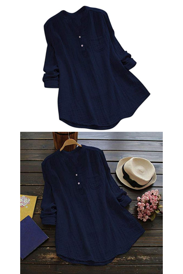 3352f7a789d846 Challyhope Women Crushed Linen Casual Loose Button-Down Shirt Solid Basic  Blouse Henley Tops