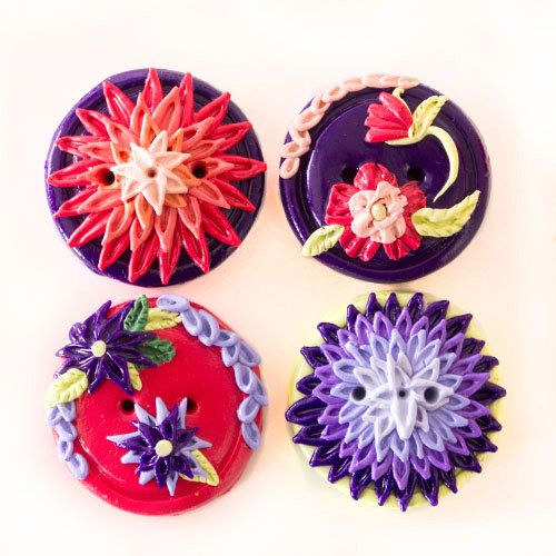 Purple and Pink Floral Buttons 4 by TinyPips on Etsy