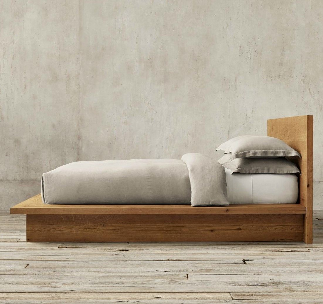 Reclaimed Russian Oak Platform Bed From Restoration Hardware