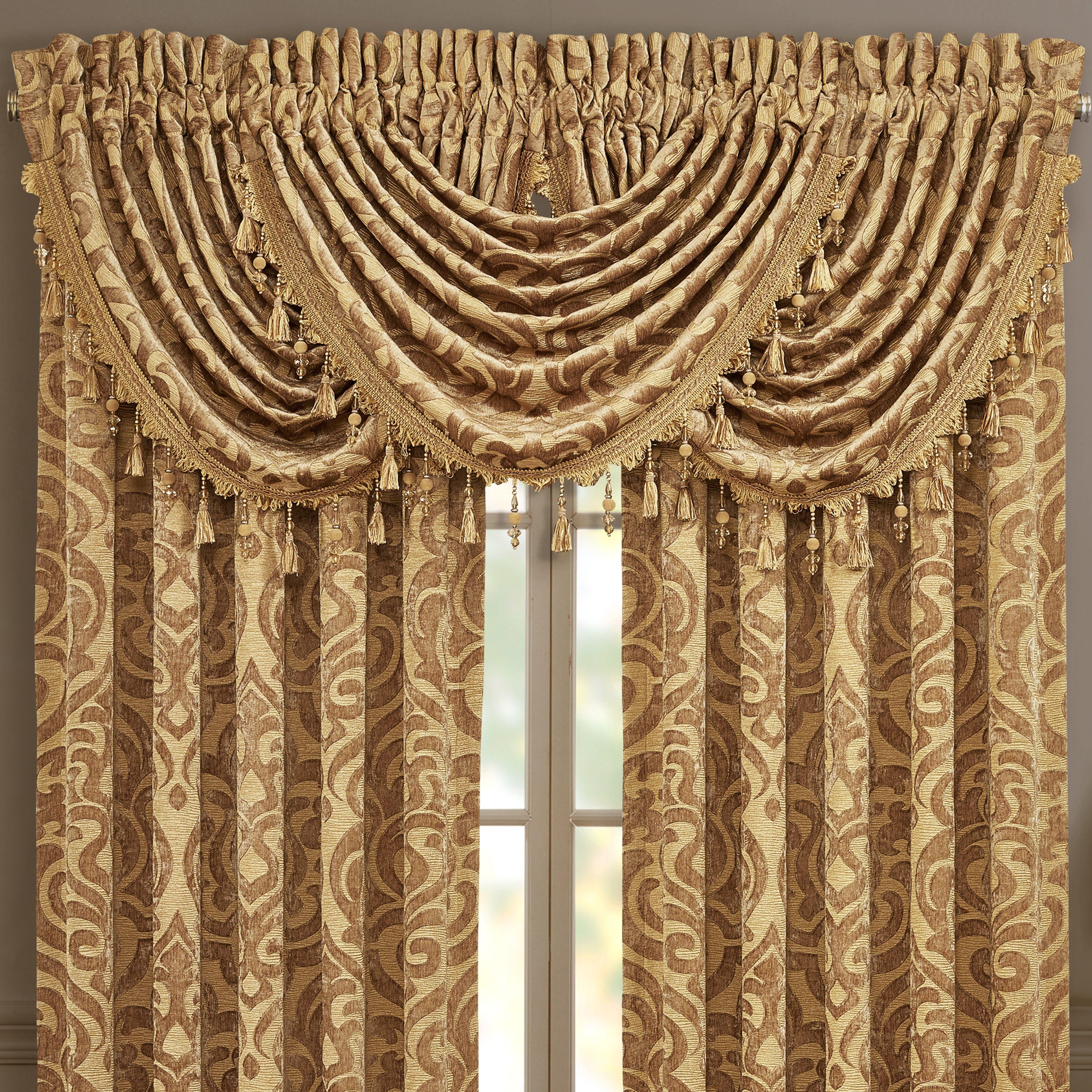 J Queen New York Sicily Gold Window Waterfall Valance Gold Gold Window Treatments Waterfall Valance Valance