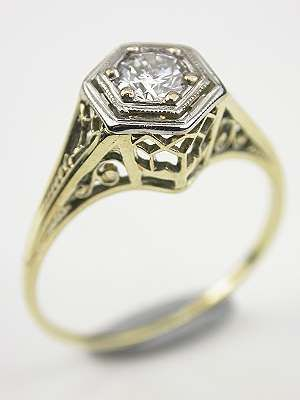 1920s antique filigree engagement ring rg 3379 - 1920s Wedding Rings