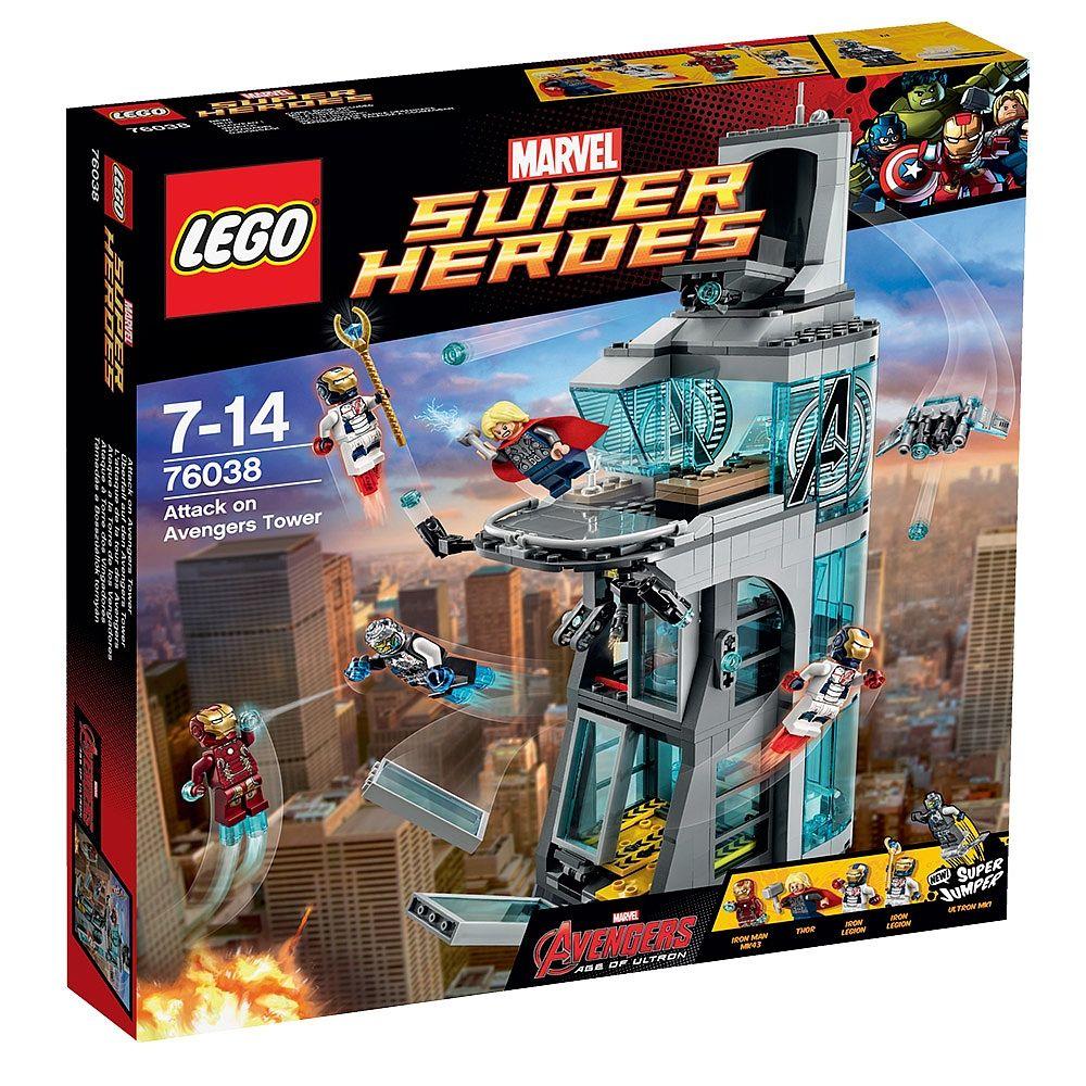 LEGO Super-Heróis - Ataque à Torre dos Vingadores, um set de Os Vingadores da LEGO que inclui 515 peças, das quais 5 mini figuras uma arma e um sortido de acessórios (Ultron Mark 1, 2 Legiões Iron, Iron Man e Thor). Os heróis estão a dar uma festa quando, de repente, a Torre dos Vingadores é atacada por Ultron a partir do interior! O terrível Ultron Mark 1 montou um laboratório e está a explodir as janelas. Ajuda o Iron Man e o Thor a vencerem o Ultron!