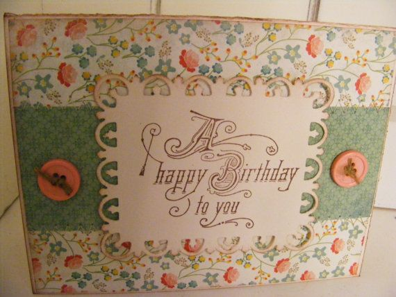 Sewn Happy Birthday Floral Greeting Card Vintage Look w/ Envelope and Seal Quick Shipping SerendipityCrafting DC55