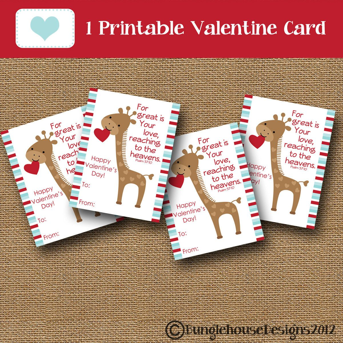 Boys Valentine Card Giraffe Valentine DIY PRINTABLE – Christian Valentine Cards for Kids