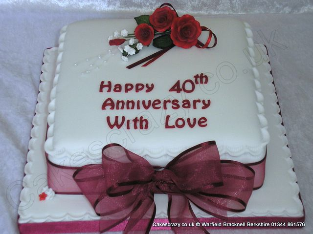 Ruby Wedding Anniversary Cake Ideas: Square Ruby 40th Wedding Anniversary Cake With Ruby Red