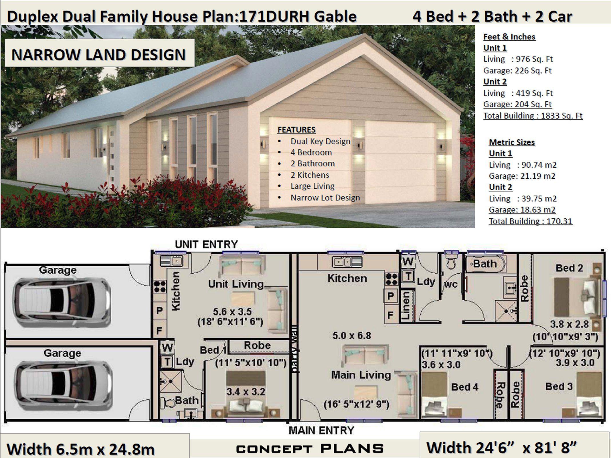1833 Sq Foot Or 170 M2 Narrow Land 4 Bedrooms Duplex Design 3 X 1 Bedroom Duplex Plans 4 Bedroom Duplex Modern 4 Duplex Design Duplex Plans House Plans