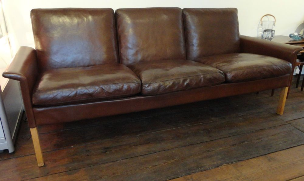 Vintage Brown Leather 3 Seater Sofa with Solid Oak Legs by Hans Olsen - Danish in Maison, Meubles, Canapés, fauteuils, salons | eBay