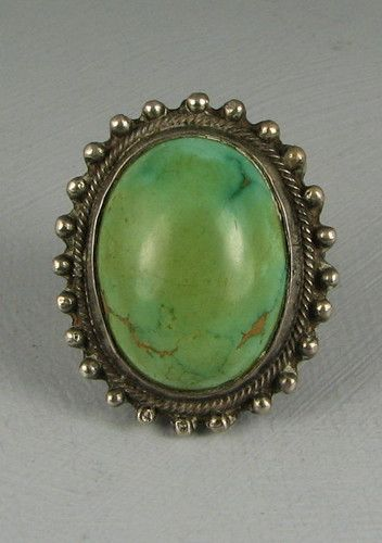 Native American Style Ovale Enhanced Turquoise Anneau Argent Sterling 925