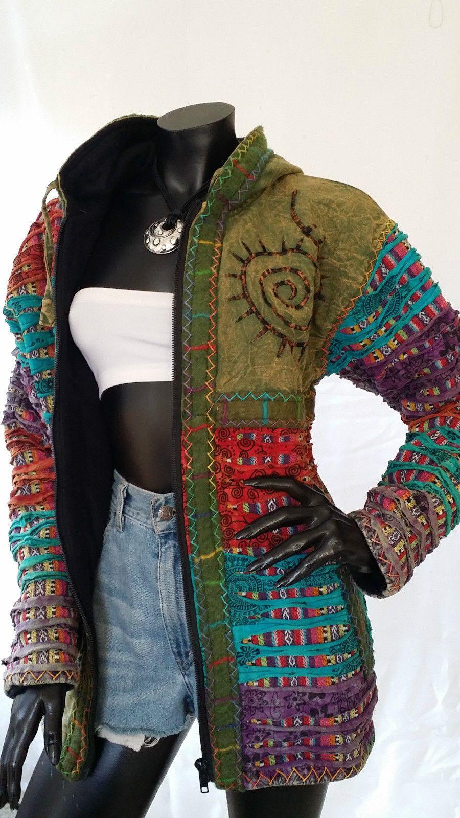Warm Hippie Hoodie Jacket Long Black Rainbow Pixie Fleece Lined Nepal Cozy Boho