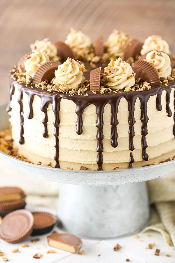 Peanut Butter Chocolate Layer Cake - filled with Reese s between the layers  and so good! 800622c66cc