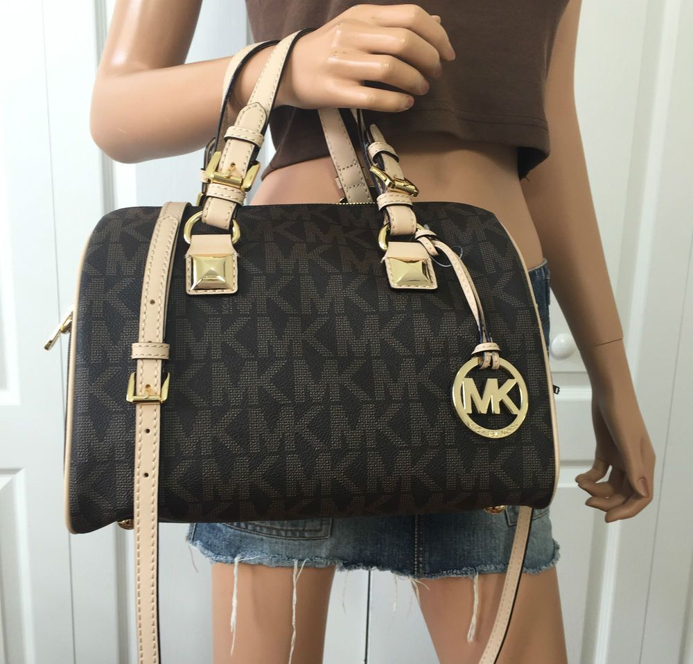 Michael Kors MK Signature PVC Medium Satchel Grayson Tote Crossbody Bag  Brown  MichaelKors  ShoulderBag 2a6db5b5aa9dd