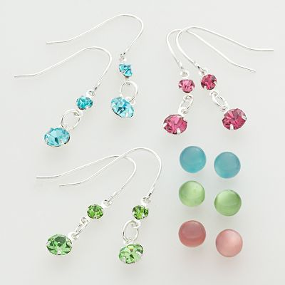 SO Silver Tone Crystal Drop and Stud Earring Set