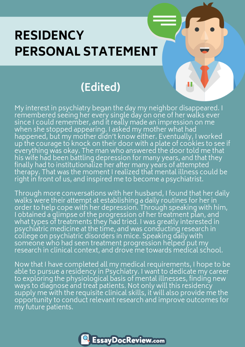 Residency Personal Statement Editing Example That You Can Use To Improve Your Skill Medical Psychiatry