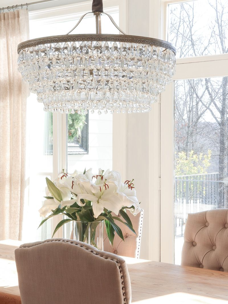 If You Want A Beautiful Drop Down Chandelier This Is It The Pottery Barn Clarissa Crystal Drop Dining Chandelier Dining Room Chandelier Dining Room Lighting