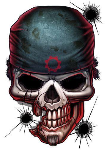 Gears Of War Game Over Temporary Tattoo Dibujos Arte Del Craneo Calaveras Para Dibujar