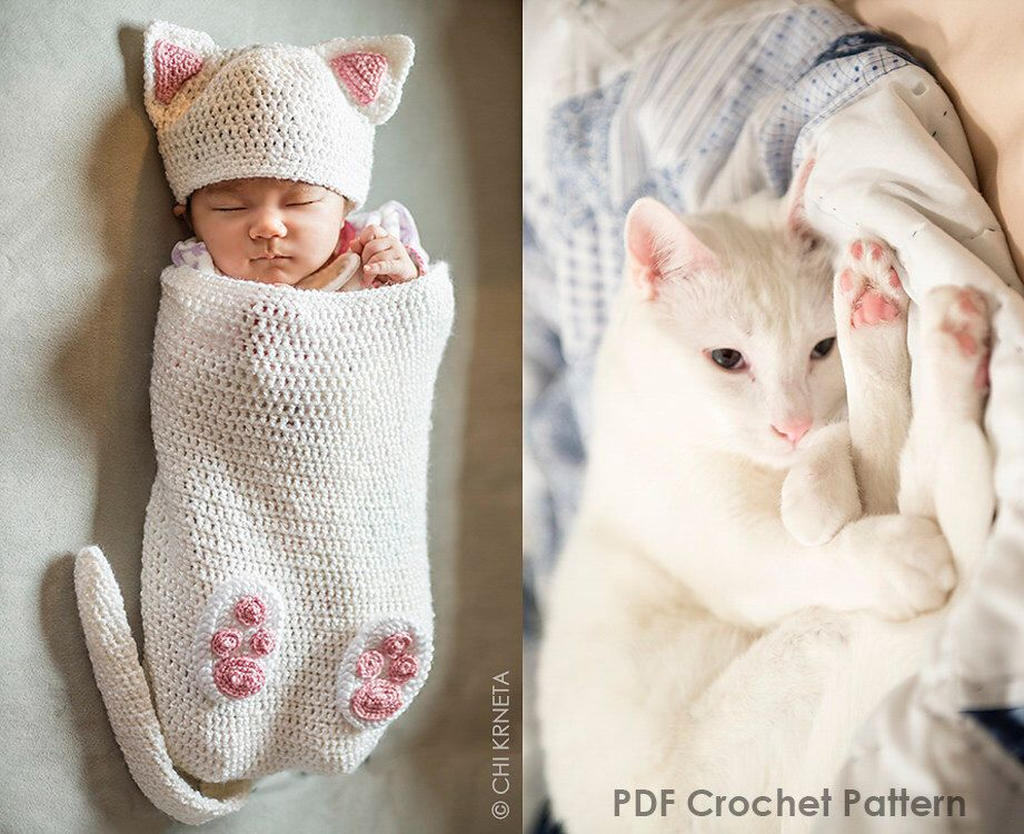 Baby Cat Cocoon Hat & Booties Crochet Pattern by ChiKDesigns on Etsy ...