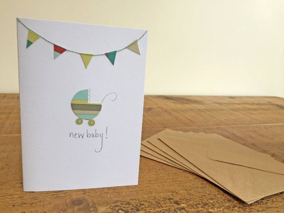 Gorgeous New Baby Pram and Bunting Greetings Card